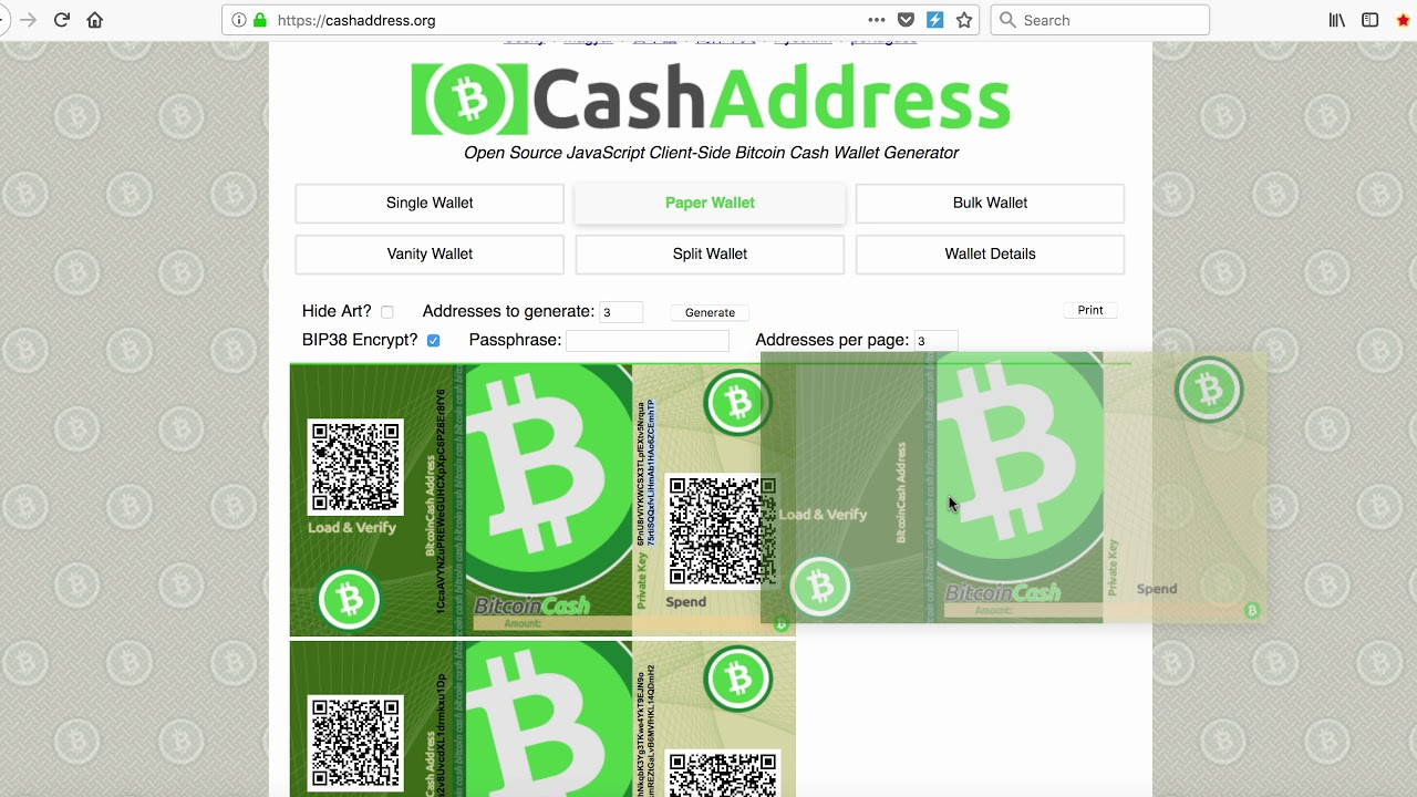 Bitcoin Cash Paper Wallet