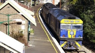 Freight Train Through Bullaburra Station - Australian Trains, New South Wales
