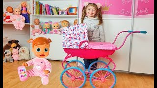 Dominika play with doll and new carriage for kids