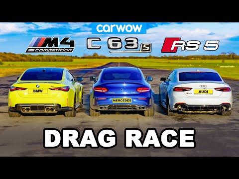 BMW M4 v AMG C63 v Audi RS5 - DRAG RACE