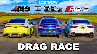 BMW M4 v AMG C63 v Audi RS5 - DRAG RACE