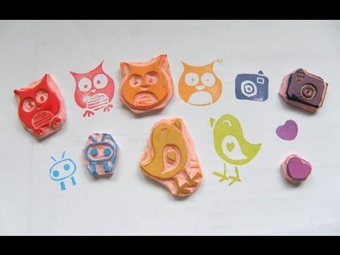 Haz tus propios sellos diy stamp carving youtube for Como hacer sellos