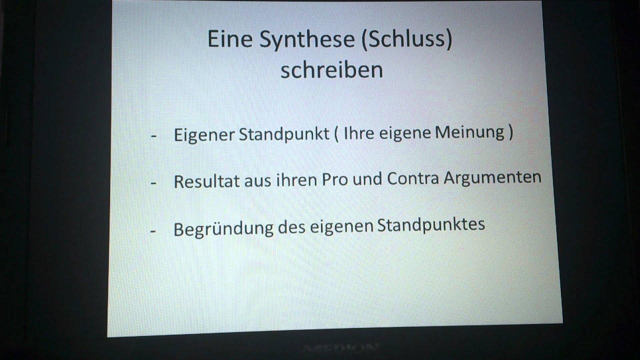 synthese schreiben schlussteil schreiben - Erorterung Gliederung Beispiel