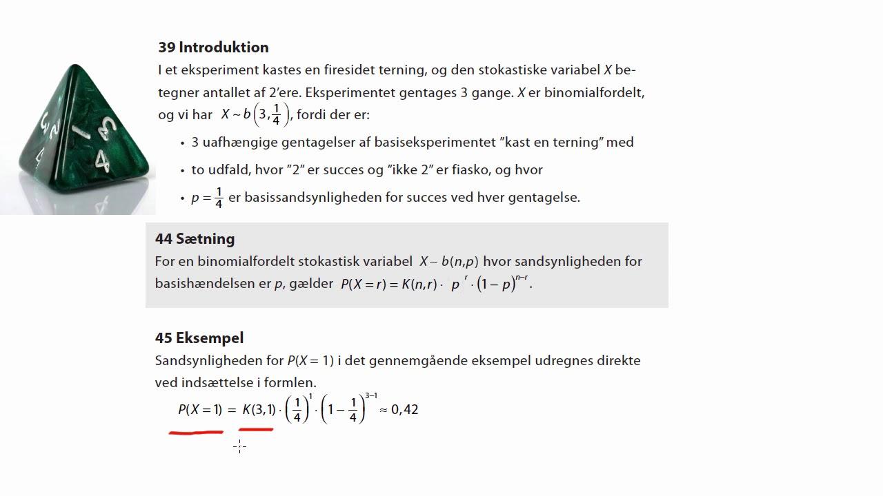 Eksempel med sandsynlighed i binomialfordeling
