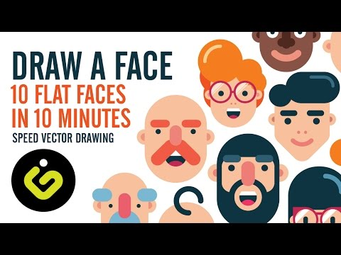 How To Draw A Face, 10 Flat Design Characters in 10 Minutes, Speed Drawing in Adobe Illustrator