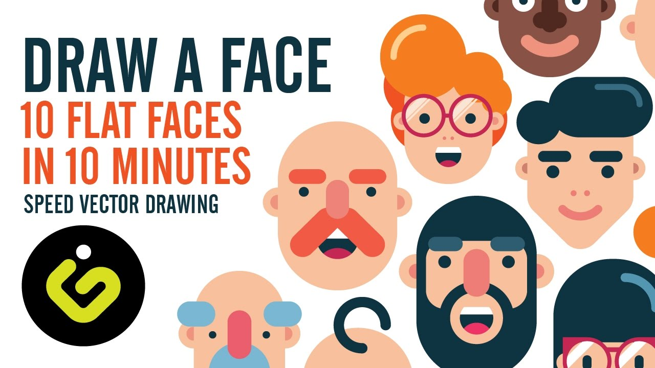 Flat Character Design Tutorial : How to draw a face flat design characters in