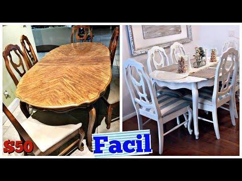 Como Pintar el Comedor Super Facil!! Mesa y sillas DIY