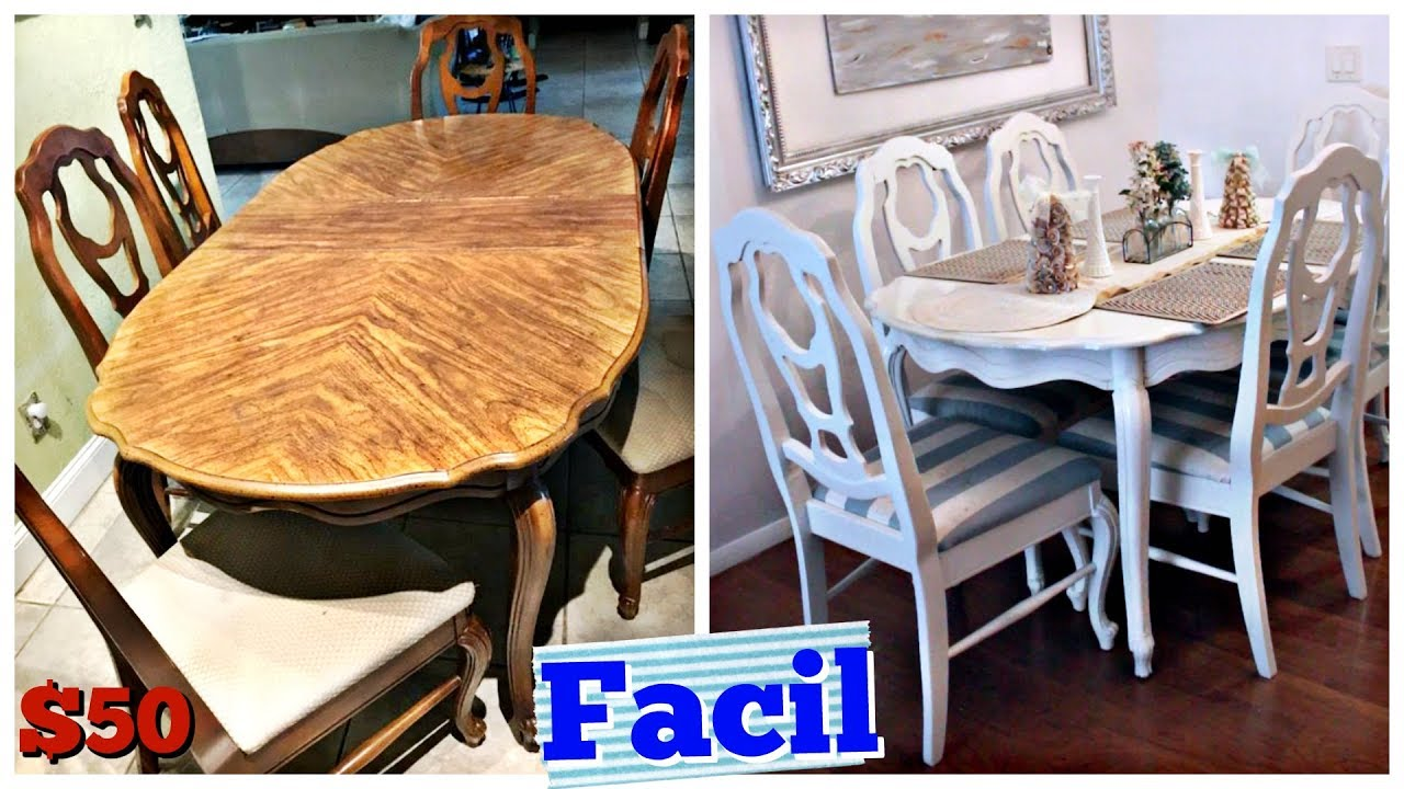 Como Pintar el Comedor Super Facil!! Mesa y sillas DIY - YouTube