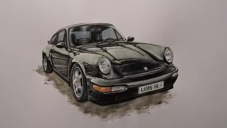 Draw and paint Porsche 964 (timelapse/speed drawing)