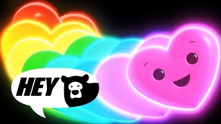 Hey Bear Sensory - Happy Hearts Disco! - Fun Video with songs and animation