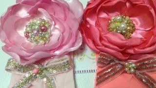 Tiara de media  con rosa de satin centro de cuentas   VIDEO No. 183