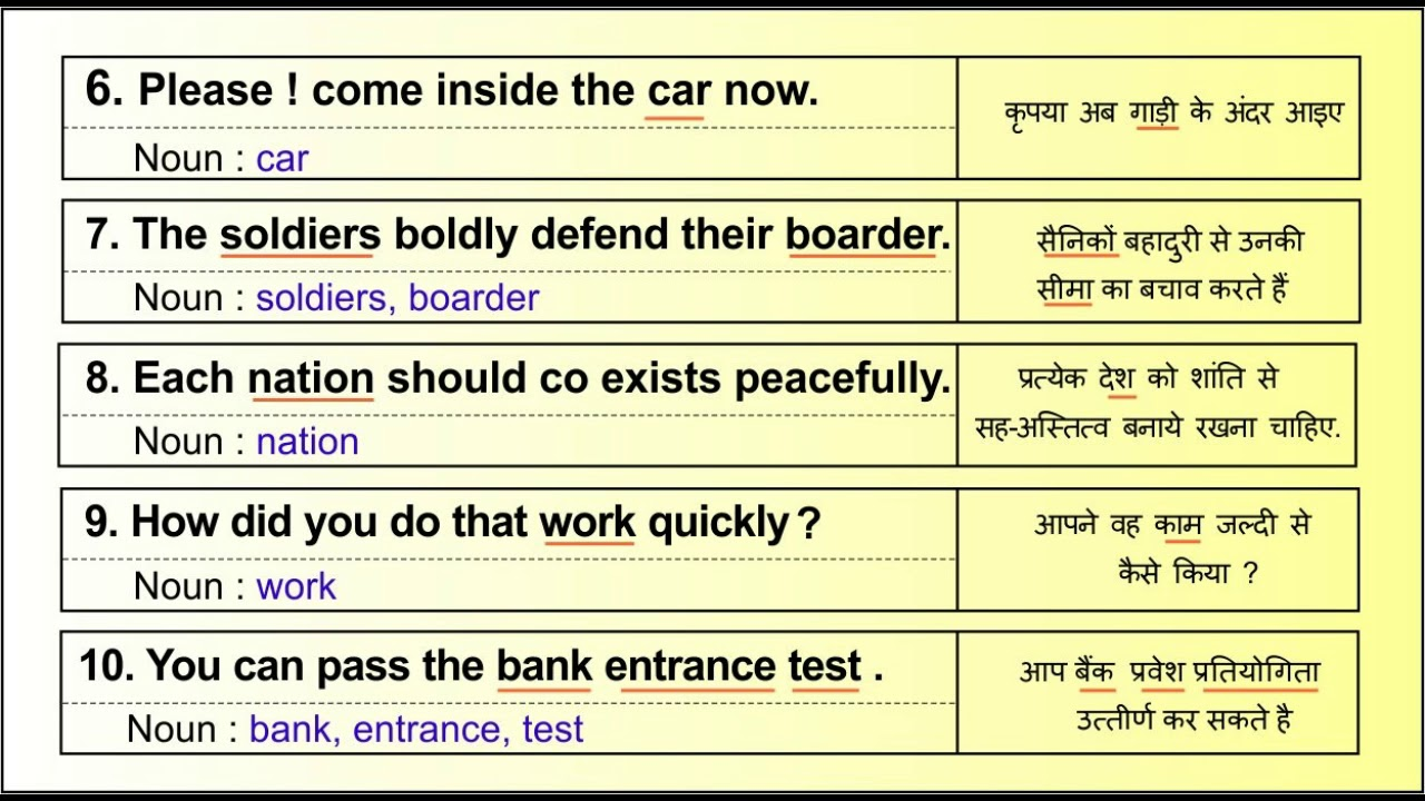 Identify Nouns from English sentences, नाम ( संज्ञा ) के 20 उदहारण वाक्य.