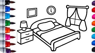 Learn How to Draw and Color Girls' Bedrooms Easily for Kids -