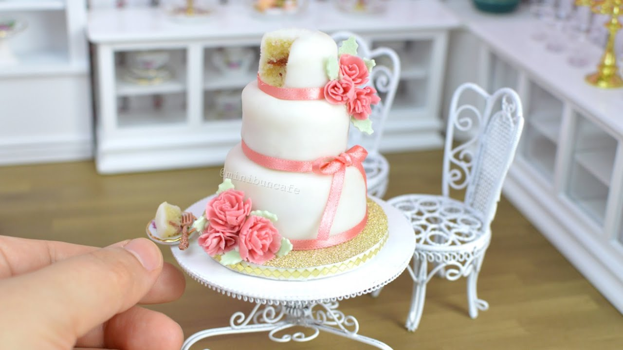 Pink Carnation Mini Fondant Wedding Cake Mini Food Youtube