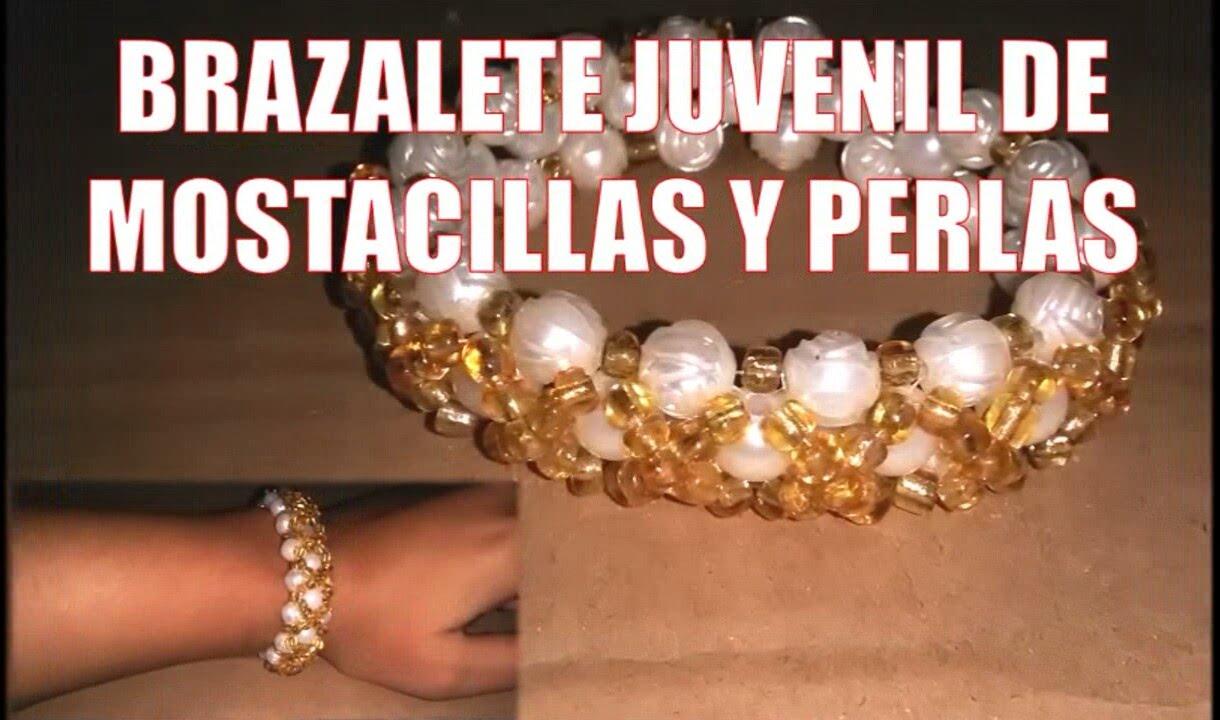 Brazalete de MOSTACILLAS y perlas , Bisutería fina ( Tutorial paso a paso) 2016,