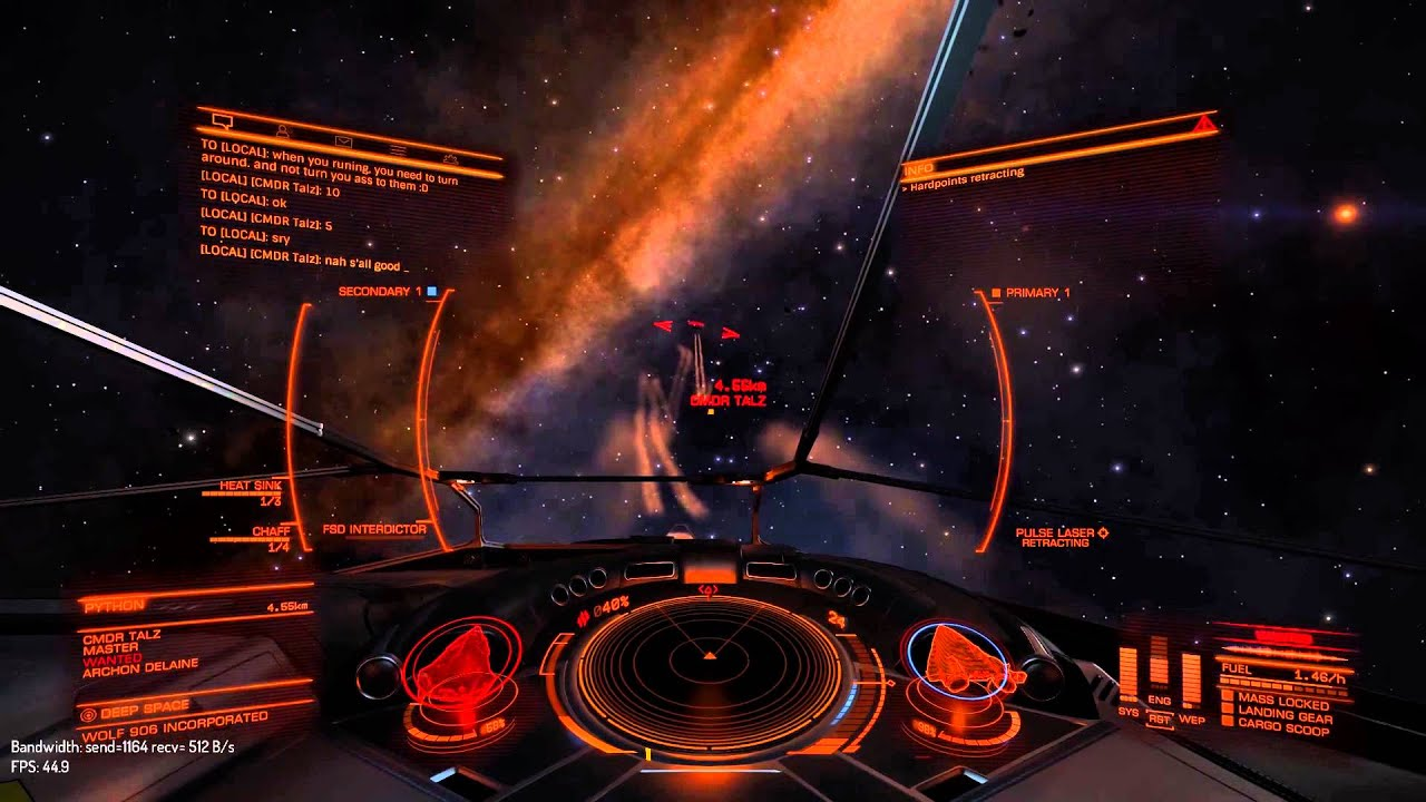 Dangerous Python Elite Cockpit - Exploring Mars