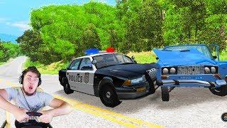 ПОЛИЦЕЙСКАЯ ПОГОНЯ ЗА ВАЗ 2106 / BeamNG Drive + РУЛЬ HORI APEX WHEEL
