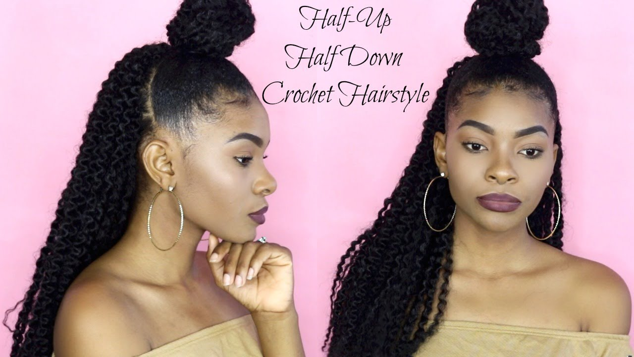 HOW TO: HALF UP HALF DOWN CROCHET HAIRSTYLE