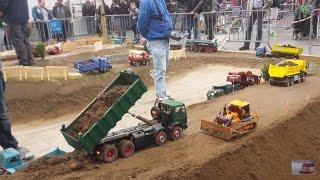RC Truck Construction Site Excavator Dumper Action at Modelltech Sinsheim 2016