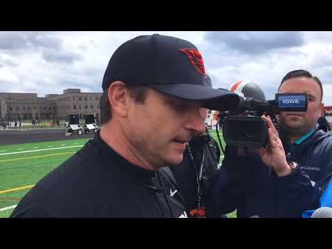 Jonathan Smith likes what he sees from the Oregon State Beavers on Saturday in Beaverton
