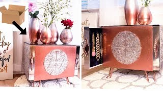 ROSE GOLD  NIGHTSTAND & OMBRE VASES FOR SMALL SPACES - CARDBOARD ROOM DECOR IDEAS!