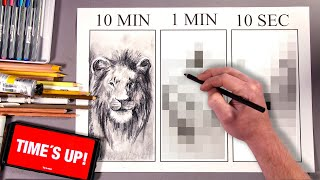 Drawing The Lion King in 10 MIN, 1 MIN & 10 SECONDS!