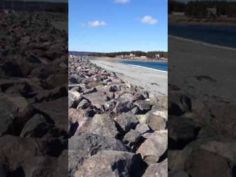 April 15, 2017 Gabarus sea wall Cape Breton Nova Scotia