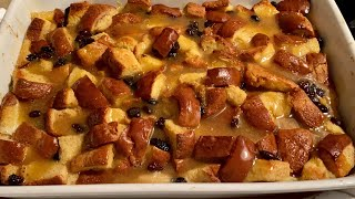 Homemade Bread Pudding Recipe with Brown Sugar Vanilla Sauce