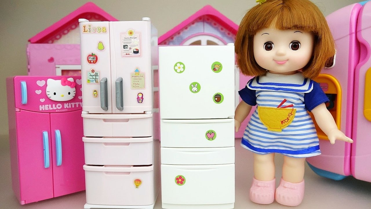 Baby doll and refrigerator food toys play - YouTube