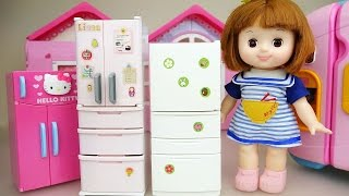 Baby doll and refrigerator food toys play