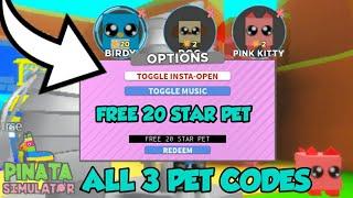 [ROBLOX] ALL 3 PET CODES [PET UPGRADES] FOR PIÑATA SIMULATOR [FREE 20 STAR PET]