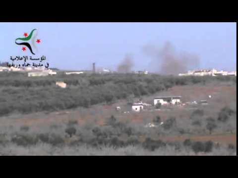 Kafr Zita, Hama.  Cluster Bombs target militant positions