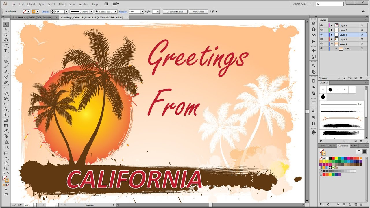 How to create a summer greeting card in adobe illustrator youtube how to create a summer greeting card in adobe illustrator m4hsunfo