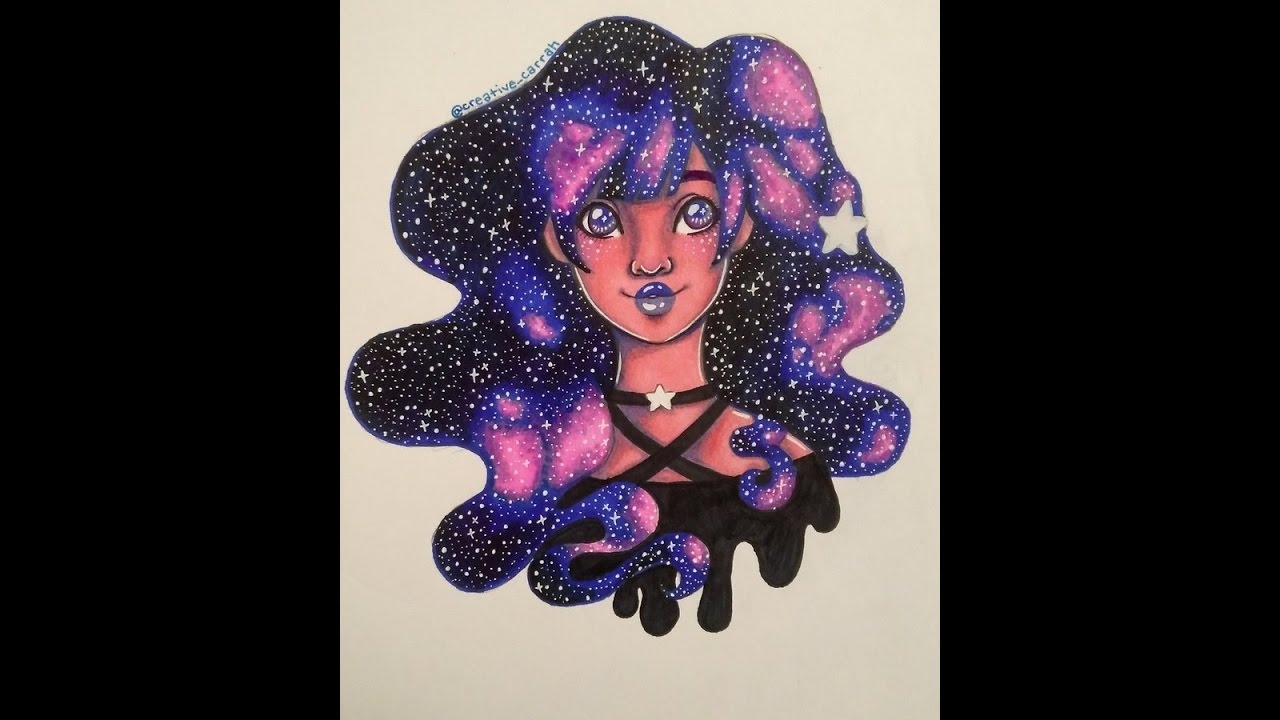 galaxy hair sharpie art speedcolor