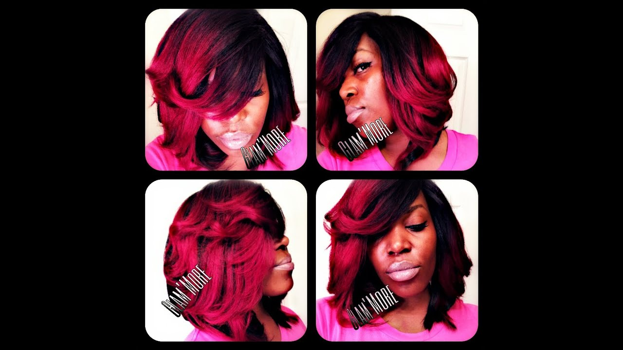 k. michelle inspired (red ombre) quickweave part 2 - youtube
