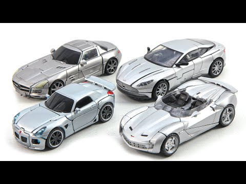 Transformers Studio series Sliver Color Jazz Sideswipe Soundwave Cogman 4 Vehicles Car Robot Toys