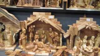 The Nativity Of Jesus Scene Made Of Olive Wood At Johnny's Souvenir Shop, Bethlehem