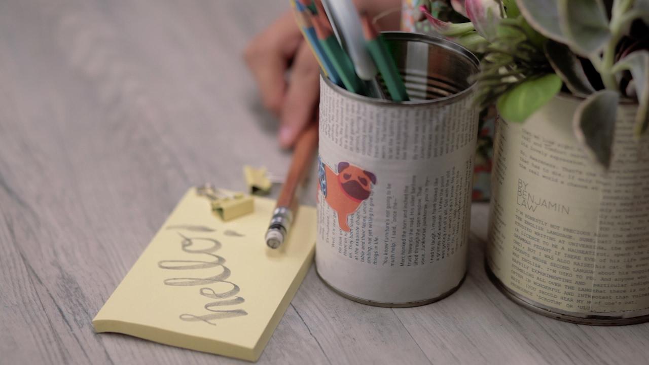 DIY Tin Can Pencil Holder - YouTube