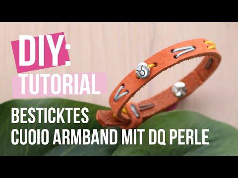 Schmuck machen: Besticktes Cuoio Armband mit DQ Perle ♡ DIY