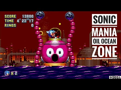 Sonic Mania Oil Ocean Zone Acts 1 2 Giant Octopus Boss Youtube