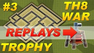 BEST Town Hall 8 (TH8) Trophy War Base -Setup #3 Defense Replays (Clash of Clans) Anti-Hog Dragon