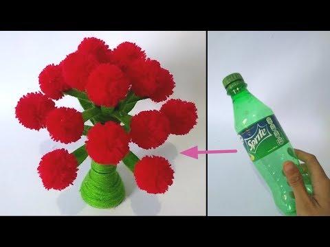 Cara Membuat Bunga Dari Botol Plastik Bekas Dan Benang Wol How To Make Flower From Plastic Bottle Youtube