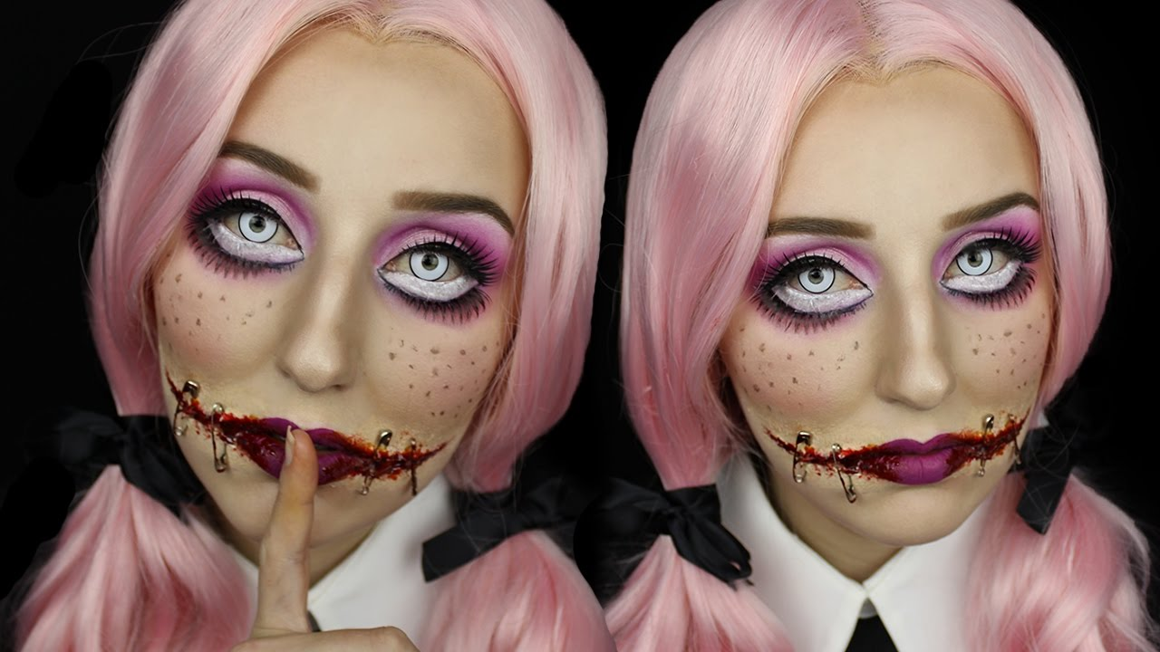 Creepy Doll With Stitched Mouth Halloween Makeup Tutorial - YouTube