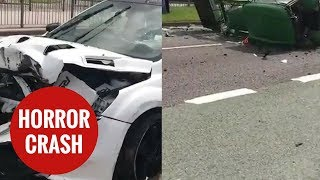 Aftermath of high-speed horror crash between a stolen car and a tractor