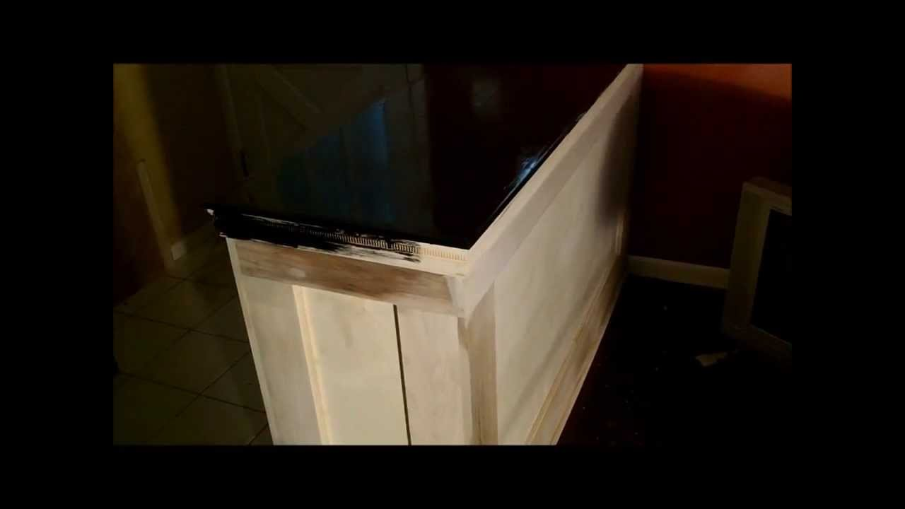 Interior diy half wall build youtube for How to build a wall bar