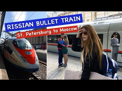 """Traveling on Russian Bullet Train """"Sapsan"""" from Moscow to St  Petersburg. VLOG. Part 4"""