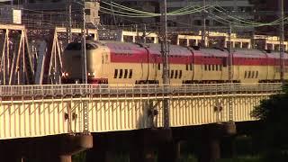 【寝台特急サンライズ出雲】朝焼けの淀川鉄橋 大阪駅近辺