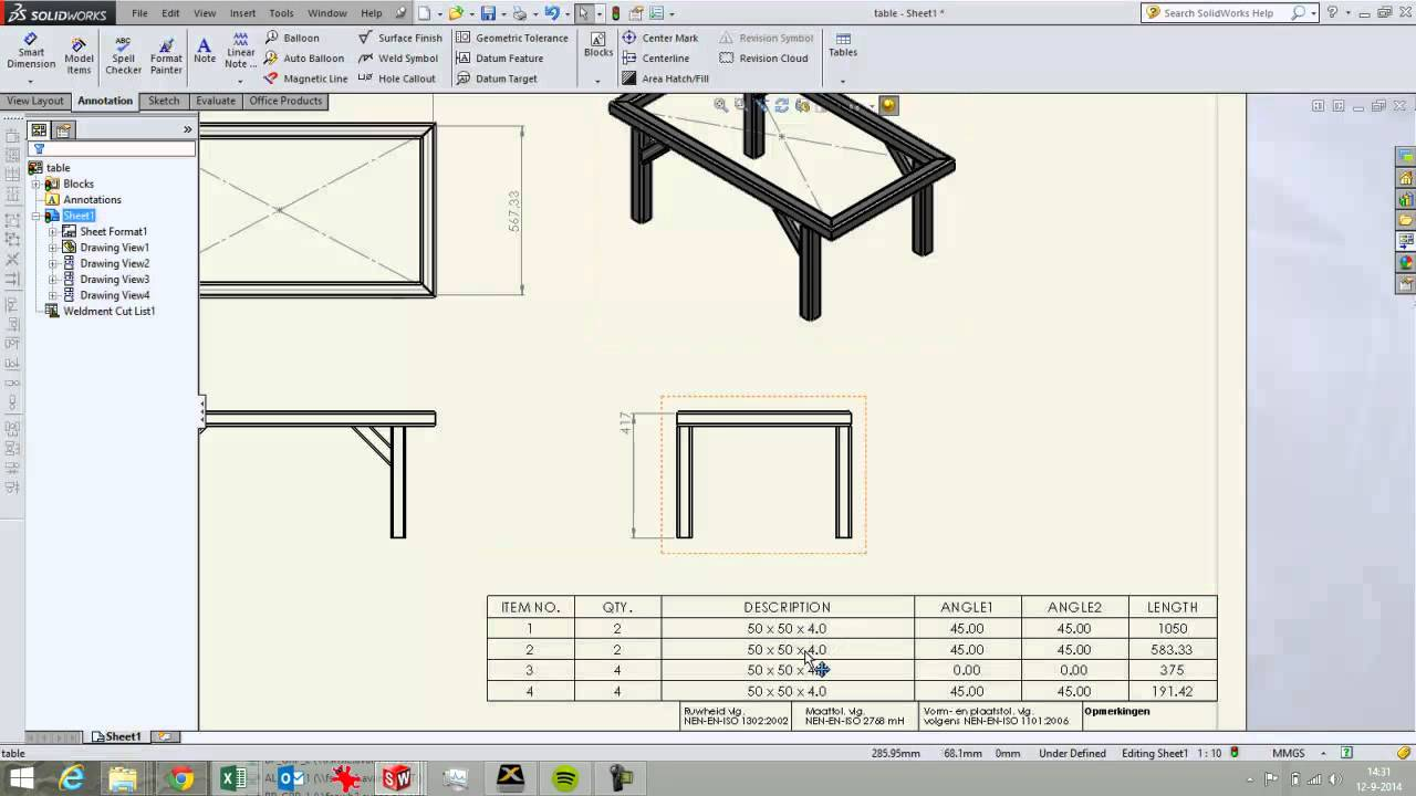Solidworks 2d Drawing 2d Drawing Video 3 Of 4 Weldment