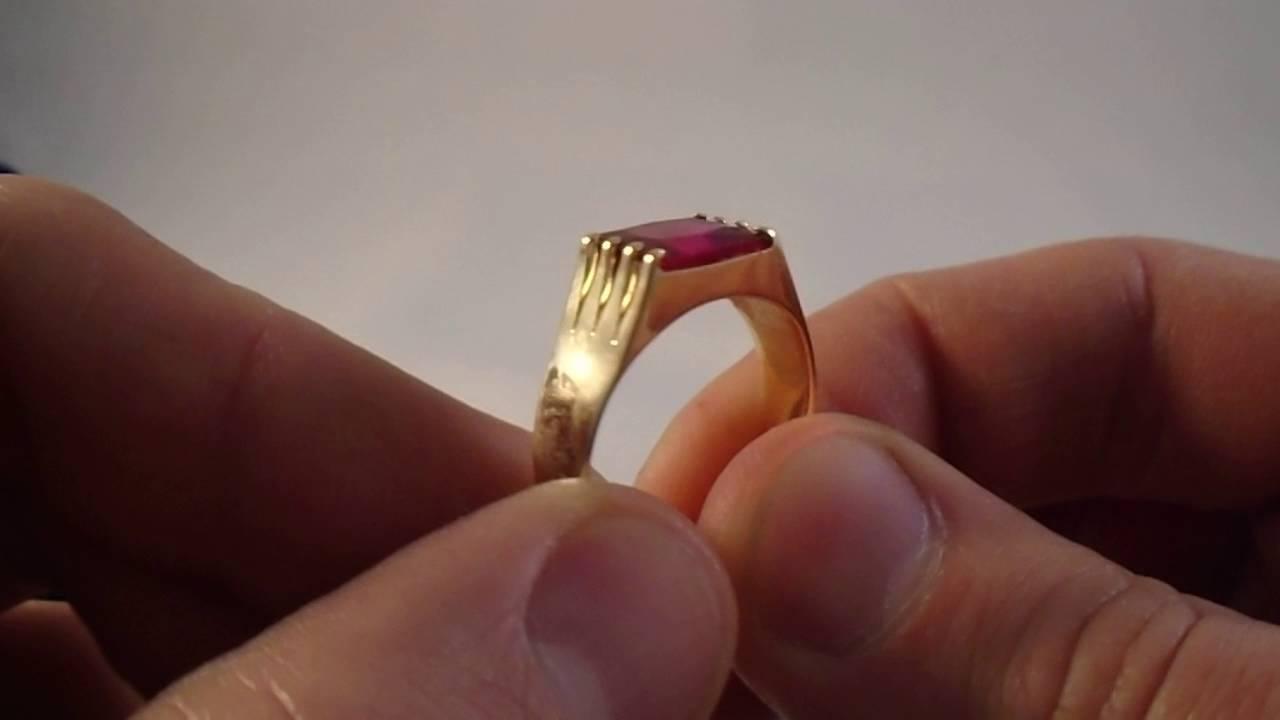 c3009b948 anel masculino pedra vermelha ouro maciço - YouTube