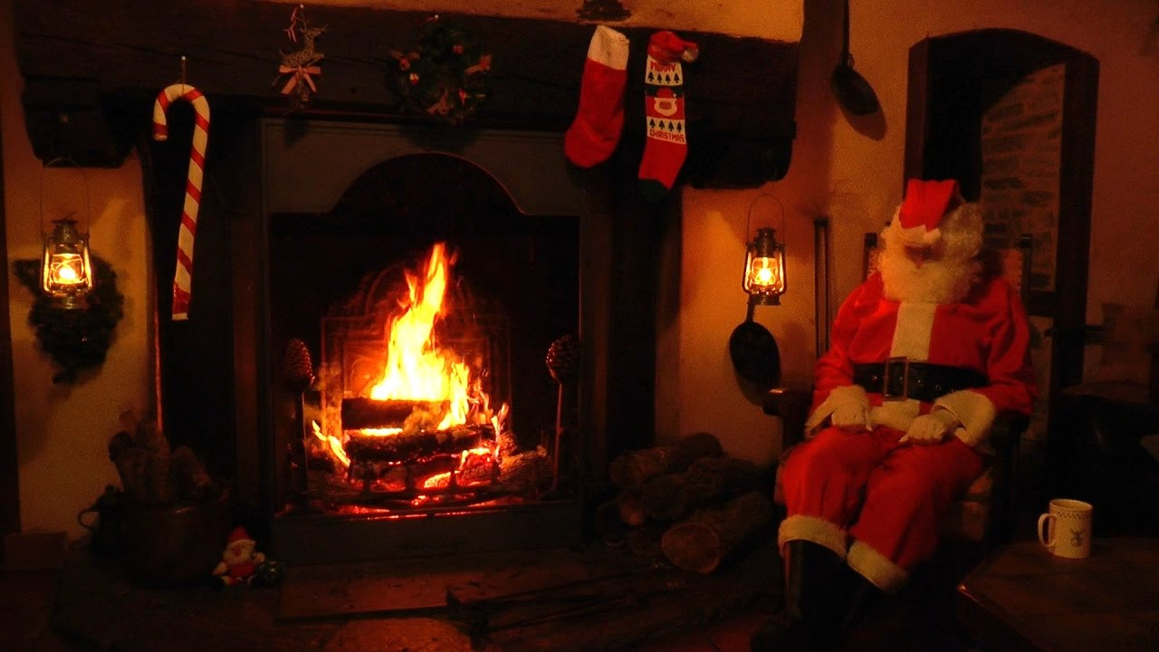 Crackling Fireplace Scene with Santa and Relaxing